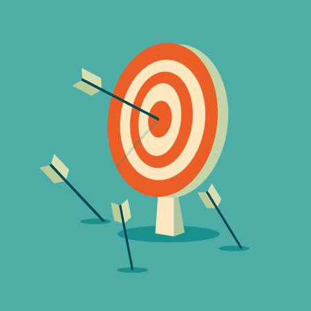 Illustration pour Abstract target flat design icon illustration. Stock vector. - image libre de droit