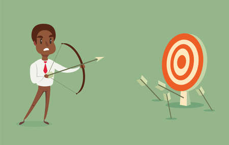 Illustration pour Blindfolded Black african american businessman shooting arrow. - image libre de droit