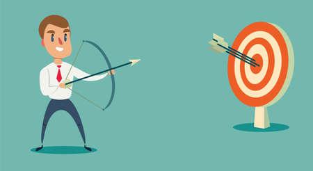 Illustration pour Successful businessman character shoots or aiming at the target. Business concept illustration - image libre de droit