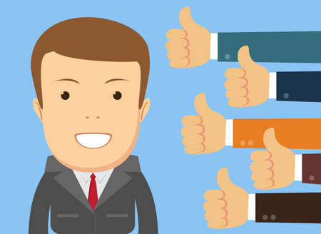 Illustration pour Smiling happy young man surrounded by hands with thumbs up. - image libre de droit