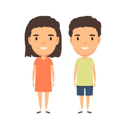 Illustration pour Boy and girl - characters. - image libre de droit