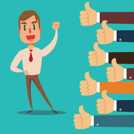 Illustration for Happy and proud businessman with many thumbs up hands around him. - Royalty Free Image