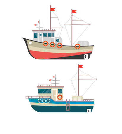Illustration pour Commercial fishing boat side view isolated icon. Sea or ocean transportation, marine ship for industrial seafood production. - image libre de droit