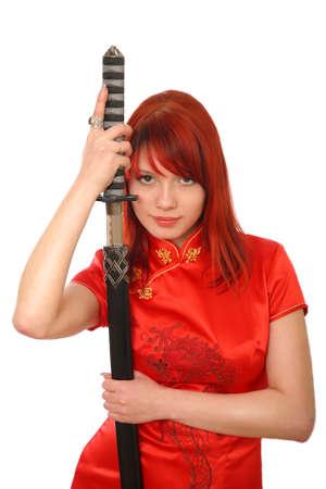 woman with samurai sword on white background