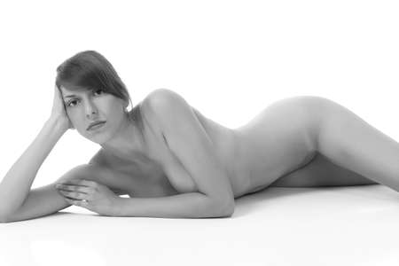 Photo pour young sexy naked girl on white background - image libre de droit