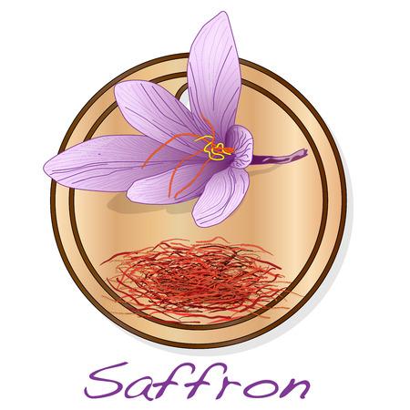 Illustration pour Saffron flower on the dish illustration set. Vector isolated. - image libre de droit