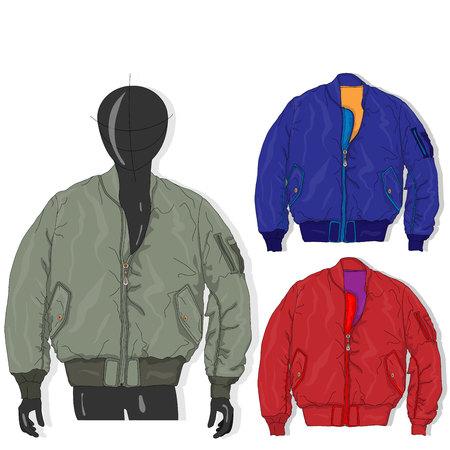 Ilustración de Pilot jacket. Bomber. Vector illustration. Men clothes collection. - Imagen libre de derechos