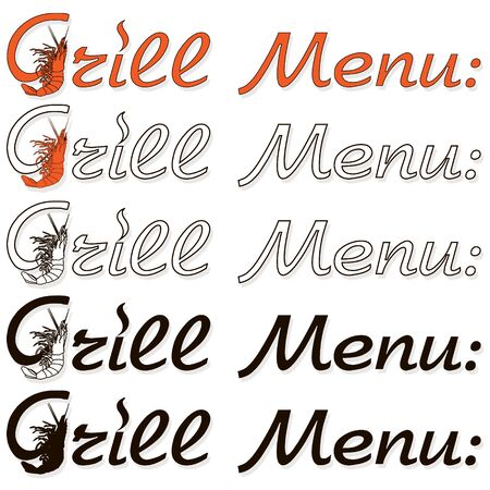 Barbecue, grill, bbq shrimp vector signes and emblems. Illustration of bbq  and grill isolated on white