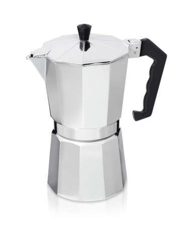 Photo for Metal coffee maker isolated, geyser coffee maker on white background - Royalty Free Image