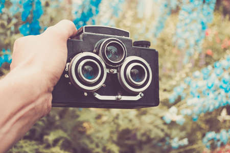 Vintage photo camera whit two lens