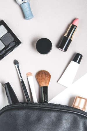 Foto de Women's cosmetics on pale background - Imagen libre de derechos