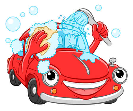 Illustration for Cartoon smiling car washes yourself. Car wash illustration - Royalty Free Image