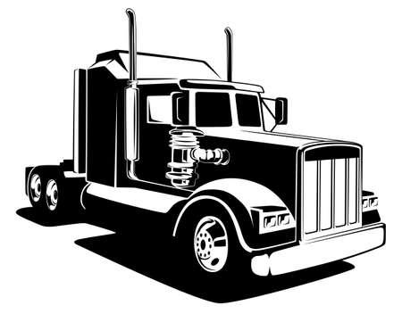Foto für Classic lorry black and white art. Truck industry illustration. - Lizenzfreies Bild