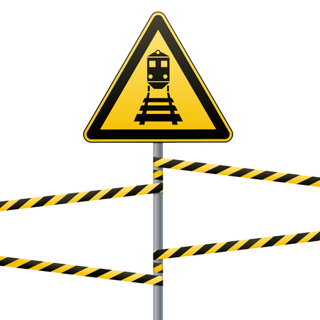 Vektor für Caution - danger Warning sign safety. Beware of the train. yellow triangle with black image. sign on pole and protecting ribbons. Vector illustration - Lizenzfreies Bild