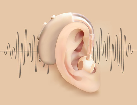 Illustration pour Illustration of a hearing aid behind ear on a background of sound wave pattern. - image libre de droit