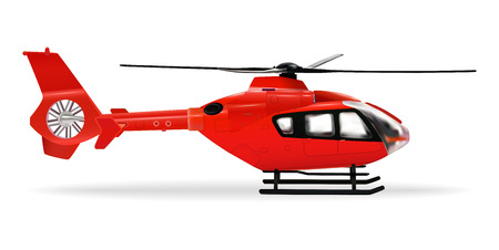 Illustration for Red copter. Passenger civilian helicopter. Realistic object on a white background. Vector illustration - Royalty Free Image