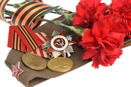 Soviet military cap with red flowers, Saint George ribbon and medals