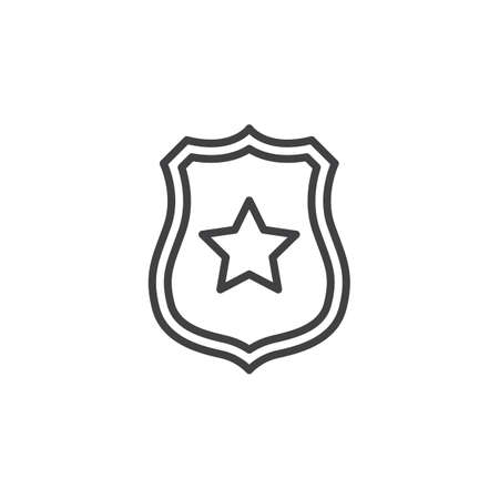 Illustration pour Sheriff badge with star line icon, outline vector sign, linear pictogram isolated on white. Public safety symbol, illustration - image libre de droit