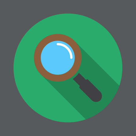 Search, magnifying glass flat icon  Round colorful button