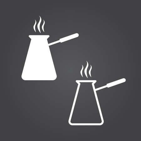 Turkish coffee pot cezve icon  Solid and Outline Versions