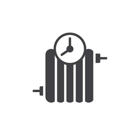 Radiator timer icon vector, filled flat sign, solid pictogram isolated on white. Symbol, logo illustration.