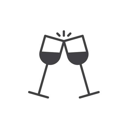 Glasses of champagne clinking icon vector, filled flat sign, solid pictogram isolated on white. Pair of champagne glass cheers drink celebration symbol, logo illustration