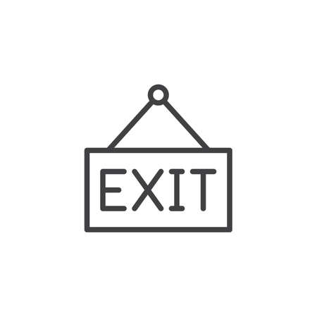 Exit hanging sign outline icon. linear style sign for mobile concept and web design. simple line vector icon. Symbol, logo illustration. Pixel perfect vector graphics