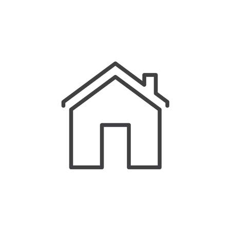 Illustration pour House with chimney outline icon. linear style sign for mobile concept and web design. Home simple line vector icon. Home page symbol, logo illustration. Pixel perfect vector graphics - image libre de droit