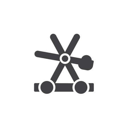 Medieval wooden catapult vector icon  filled flat sign for
