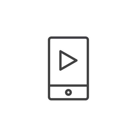 Mobile music player outline icon  linear style sign for