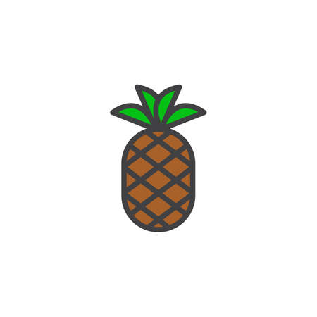 Pineapple With Leaves Filled Outline Icon Line Vector Sign