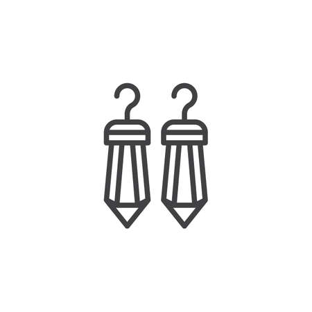 Illustration for Ruby Earrings outline icon. linear style sign for mobile concept and web design. Crystal earrings simple line vector icon. Symbol, logo illustration. Pixel perfect vector graphics - Royalty Free Image