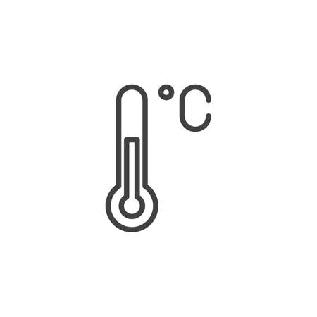 Illustration for Celsius thermometer outline icon. linear style sign for mobile concept and web design. Temperature simple line vector icon. Symbol, logo illustration. Pixel perfect vector graphics - Royalty Free Image