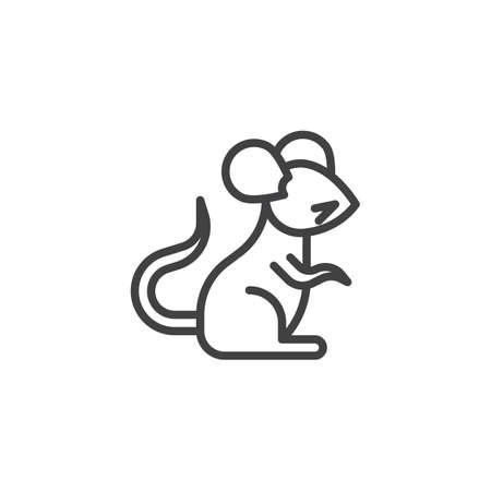 Ilustración de Chinese zodiac Rat line icon. linear style sign for mobile concept and web design. Chinese year of rat outline vector icon. Symbol, logo illustration. Pixel perfect vector graphics - Imagen libre de derechos