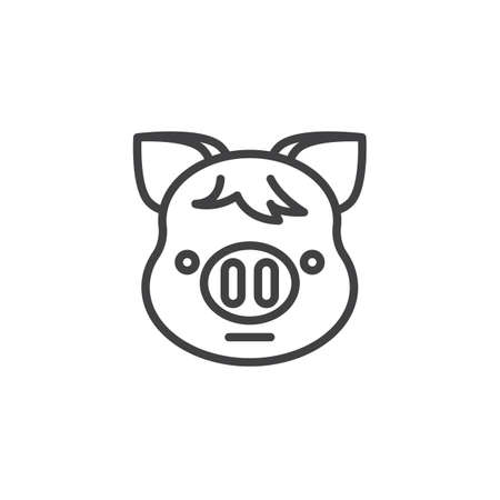 Piggy Neutral face emoji line icon  linear style sign for