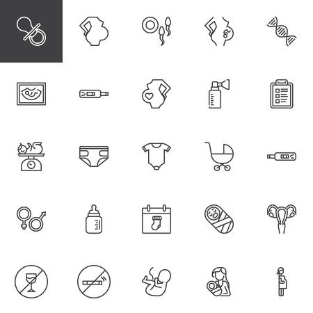 Ilustración de Maternity and pregnancy line icons set. linear style symbols collection, outline signs pack. vector graphics. Set includes icons as Pacifier, Pregnant woman, Fertilization, Breast pump, Baby Diapers - Imagen libre de derechos