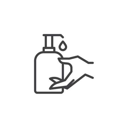 Illustration pour Hand sanitizer bottle line icon. linear style sign for mobile concept and web design. Disinfection hand outline vector icon. Healthcare symbol, logo illustration. Pixel perfect vector graphics - image libre de droit