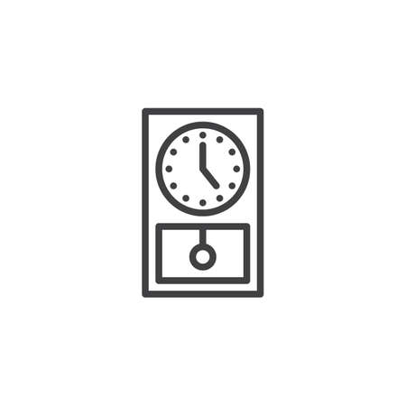 Old clock line icon  linear style sign for mobile concept