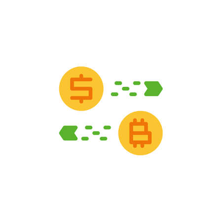 Currency Converter Flat Icon Vector