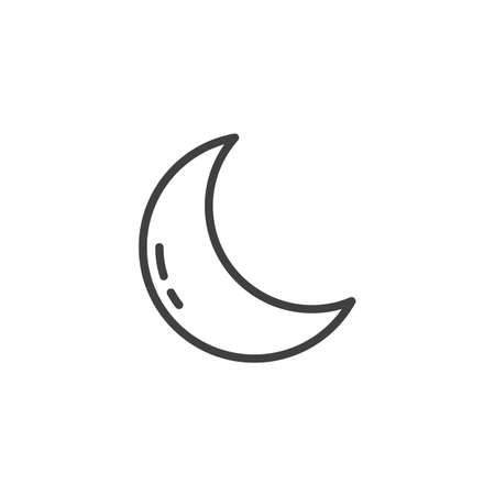 Crescent moon line icon. linear style sign for mobile concept and web design. Clear night weather outline vector icon. Forecast weather symbol, logo illustration. Vector graphics