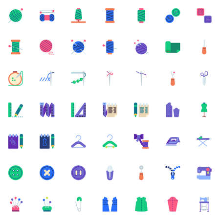 Illustration pour Sewing elements collection, flat icons set, Colorful symbols pack contains - Thimble, Electric sewing machine, Pattern fabric, Tailors dummy, Clothing scissors. Vector illustration. Flat style design - image libre de droit