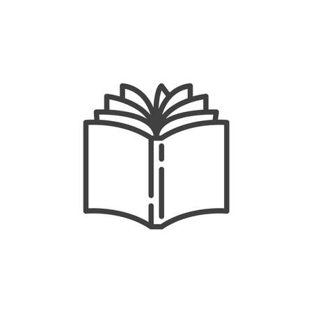 Illustration pour Open book line icon. linear style sign for mobile concept and web design. Book pages turn outline vector icon. Bookstore symbol, illustration. Vector graphics - image libre de droit