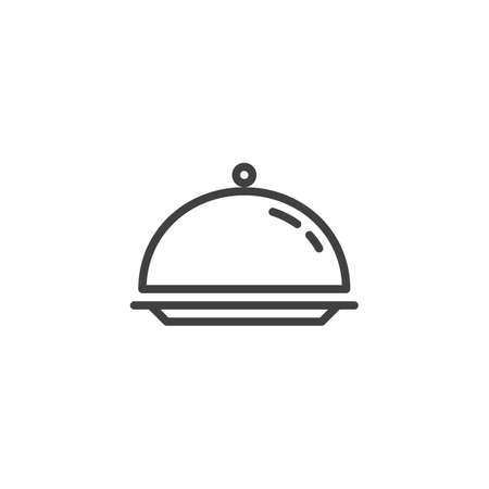 Illustration pour Cloche, food tray line icon. linear style sign for mobile concept and web design. Tray outline vector icon. Restaurant service symbol, logo illustration. Vector graphics - image libre de droit