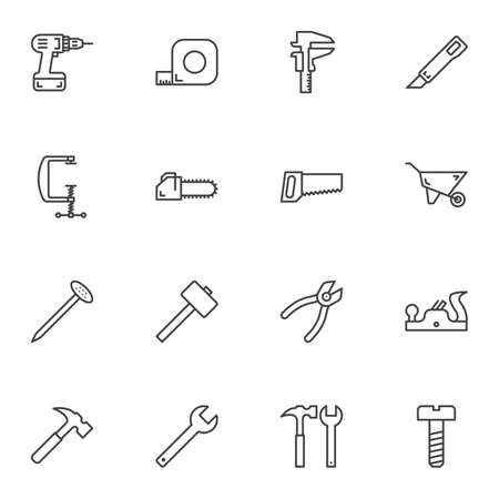 Illustration for Repair tool line icons set. linear style symbols collection, outline signs pack. vector graphics. Set includes icons as electric drill, screwdriver, measure tape, pliers, hammer, nail, saw, knife - Royalty Free Image