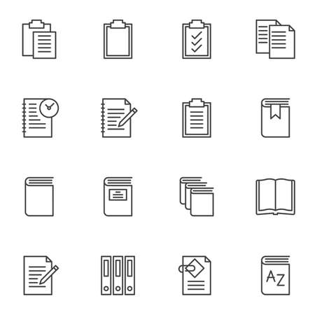 Illustration for Document file folders line icons set. linear style symbols collection, outline signs pack. vector graphics. Set includes icons as paper clipboard, task list, open book page, office folders, notebook - Royalty Free Image