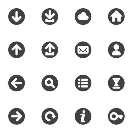 Illustration for Basic universal vector icons set, modern solid symbol collection, filled style pictogram pack. Signs, logo illustration. Set includes icons as cloud computing, forward upward backward refresh arrows - Royalty Free Image