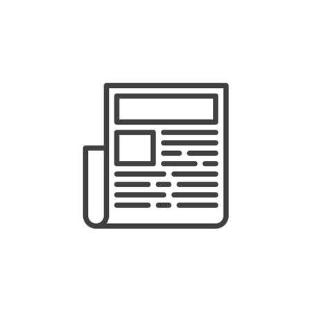 Illustration pour Newspaper headline line icon. linear style sign for mobile concept and web design. News publication outline vector icon. Symbol,  illustration. Vector graphics - image libre de droit
