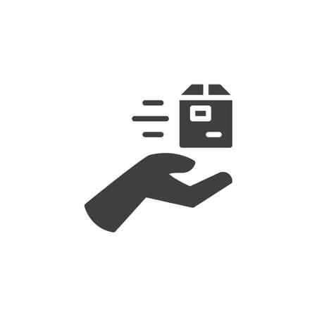 Illustration for Parcel delivery hand vector icon. Hand with box filled flat sign for mobile concept and web design. Express post delivery glyph icon. Symbol,  illustration. Vector graphics - Royalty Free Image
