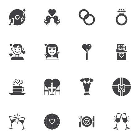 Illustration pour Wedding love vector icons set, modern solid symbol collection, filled style pictogram pack. Signs, logo illustration. Set includes icons as engagement rings, gift box, romantic dinner, champagne glass - image libre de droit