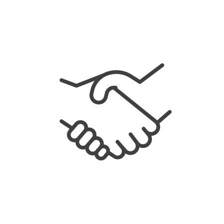 Illustration for Handshake line icon. linear style sign for mobile concept and web design. Deal, hand gesture outline vector icon. Symbol, logo illustration. Vector graphics - Royalty Free Image